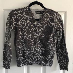Leopard print girls v neck cardigan